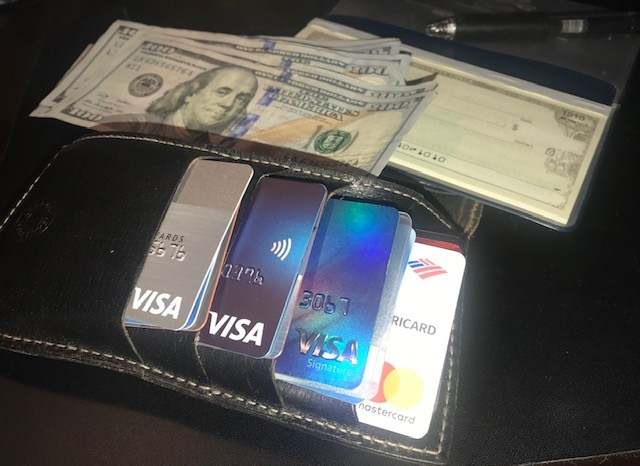 credit cards, cash, checkbook